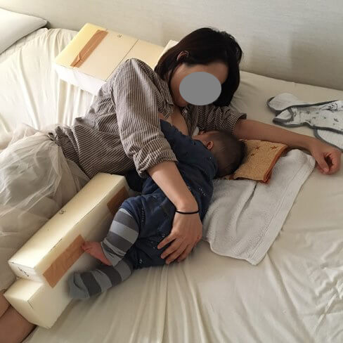 妻と息子の添い乳でテスト